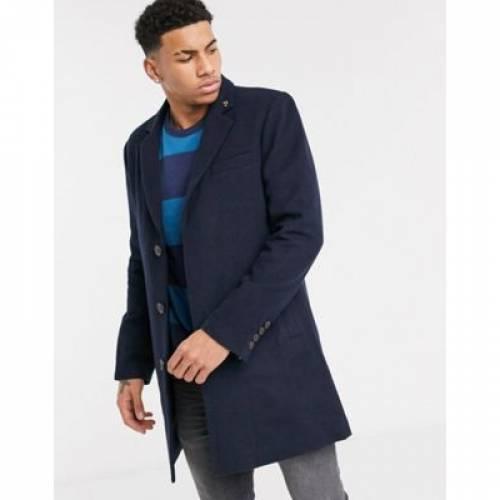 紺 ネイビー メンズファッション コート ジャケット 【 NAVY FARAH PORTOBELLO SINGLE BREAST OVERCOAT IN 】