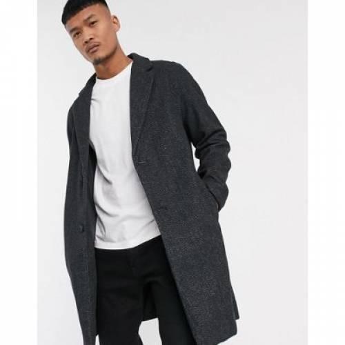 黒 ブラック メンズファッション コート ジャケット 【 BLACK BERSHKA WOOL BLEND OVERCOAT IN MARL 】