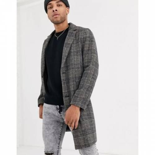 灰色 グレ メンズファッション コート ジャケット 【 BERSHKA CHECK WOOL OVERCOAT IN GREY 】