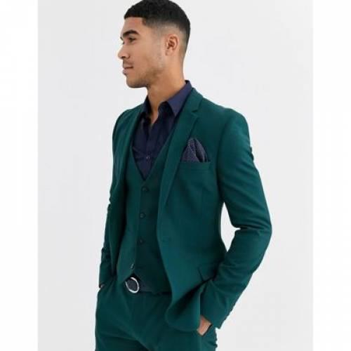 フォレスト 緑 グリーン メンズファッション コート ジャケット 【 GREEN ASOS DESIGN SUPER SKINNY SUIT JACKET IN FOREST 】 ※セットアップではありません