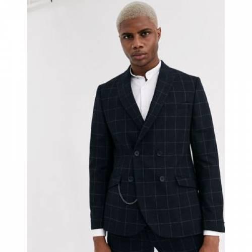 スリム 黒 ブラック & メンズファッション コート ジャケット 【 SLIM BLACK SHELBY SONS DOUBLE BREASTED SUIT JACKET WITH CHAIN IN WINDOWPANE CHECK 】 ※セットアップではありません