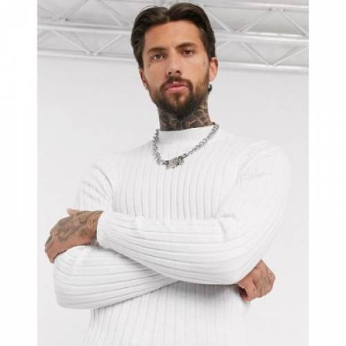 白 ホワイト メンズファッション トップス 【 WHITE ASOS DESIGN MUSCLE FIT WIDE RIB TURTLE NECK JUMPER IN 】