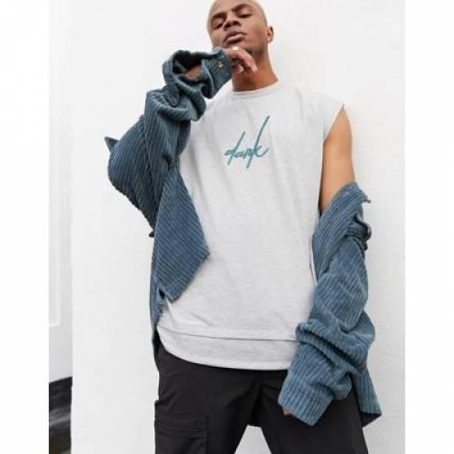 ノンスリーブ Tシャツ ロゴ メンズファッション トップス ベスト ジレ 【 SLEEVELESS ASOS DESIGN DARK FUTURE OVERSIZED TSHIRT WITH FRONT AND BACK LOGO EMBROIDERY DROPPED HEM 】