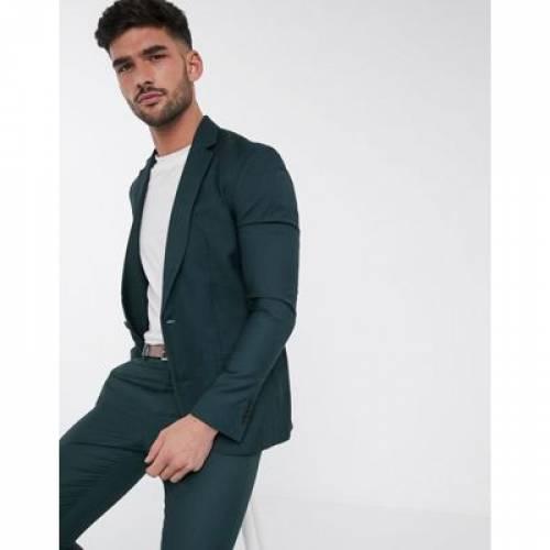 緑 グリーン メンズファッション コート ジャケット 【 GREEN NEW LOOK SKINNY SUIT JACKET IN DARK 】 ※セットアップではありません