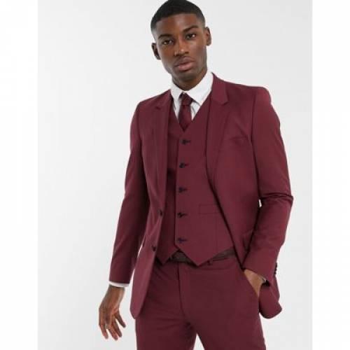 スリム ワイン色 バーガンディー メンズファッション コート ジャケット 【 SLIM ASOS DESIGN WEDDING SUIT JACKET IN BURGUNDY 】 ※セットアップではありません