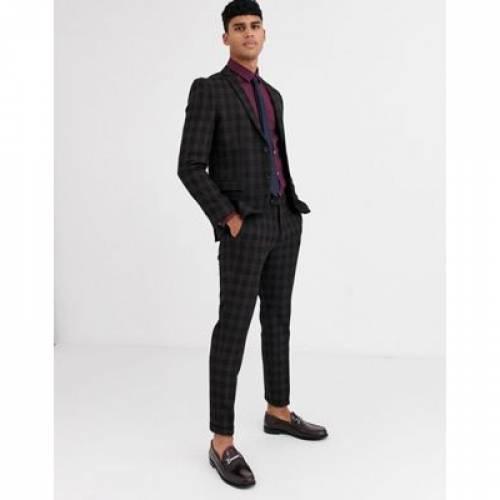 プレミアム 黒 ブラック & メンズファッション コート ジャケット 【 PREMIUM BLACK JACK JONES CHECK SUIT JACKET IN 】 ※セットアップではありません