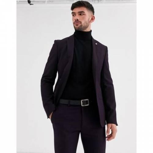 メンズファッション コート ジャケット 【 AVAIL LONDON SKINNY SUIT JACKET IN PLUM 】 ※セットアップではありません