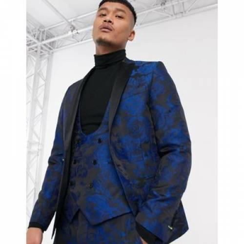青 ブルー メンズファッション コート ジャケット 【 BLUE TWISTED TAILOR SUPER SKINNY SUIT JACKET WITH FLORAL JAQUARD IN 】 ※セットアップではありません