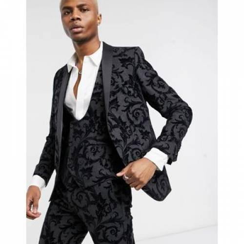 灰色 グレ メンズファッション コート ジャケット 【 TWISTED TAILOR SUIT JACKET WITH FLOCKING IN DARK GREY 】 ※セットアップではありません