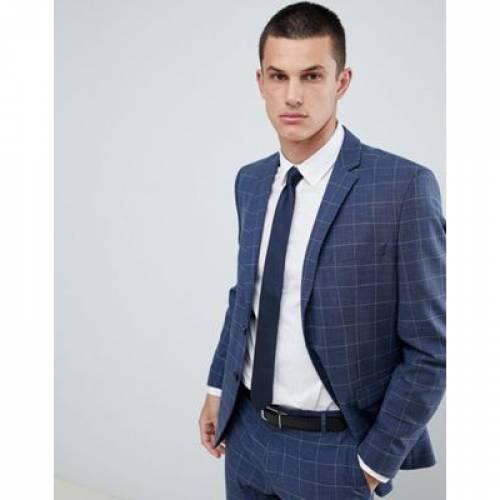 スリム 青 ブルー メンズファッション コート ジャケット 【 SLIM BLUE SELECTED HOMME SUIT JACKET IN WINDOW PANE CHECK 】 ※セットアップではありません
