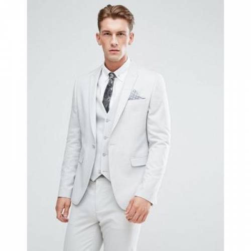 GRAY灰色 グレイ メンズファッション スーツ セットアップ 【 GREY ASOS SKINNY SUIT JACKET IN ICE 】 ※セットアップではありません