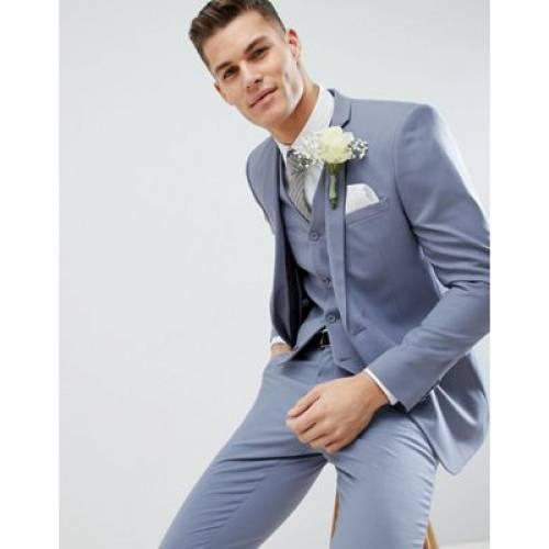 スリム 青 ブルー メンズファッション コート ジャケット 【 SLIM BLUE ASOS DESIGN WEDDING SUIT JACKET IN PASTEL 】 ※セットアップではありません