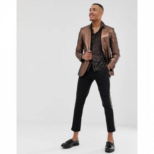 ブレーザー ブレイザー メンズファッション コート ジャケット 【 ASOS DESIGN TALL SKINNY 70S METALLIC COPPER PROM BLAZER 】