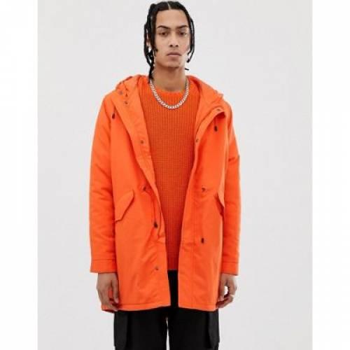 橙 オレンジ メンズファッション コート ジャケット 【 ORANGE ASOS DESIGN PARKA JACKET IN BRIGHT 】