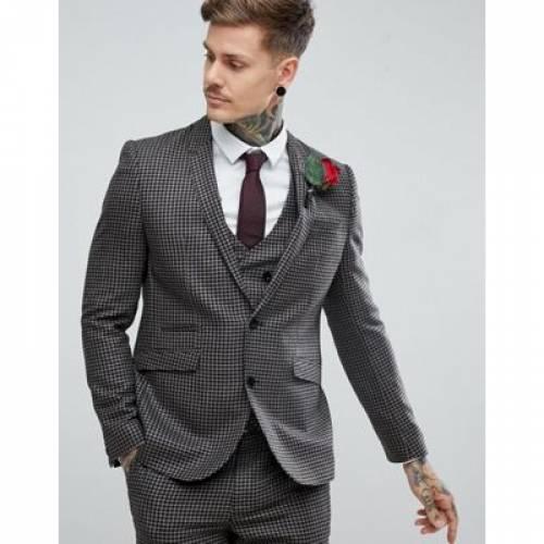 スリム 100% メンズファッション スーツ セットアップ 【 SLIM ASOS WEDDING SUIT JACKET WOOL HOUNDSTOOTH IN PUTTY 】 ※セットアップではありません