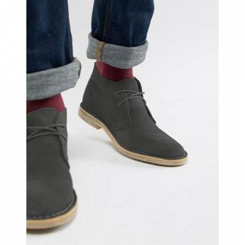 GRAY灰色 グレイ スエード スウェード メンズ ブーツ 【 GREY ASOS DESIGN DESERT BOOTS IN SUEDE 】