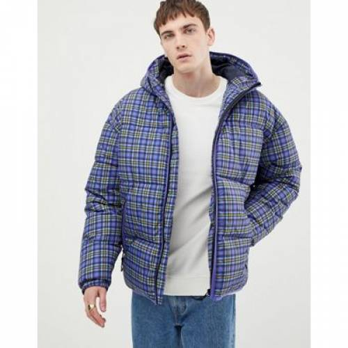 青 ブルー メンズファッション コート ジャケット 【 BLUE ASOS DESIGN PUFFER JACKET IN CHECK 】