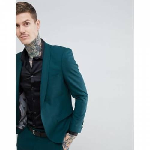 モンキー 緑 グリーン & メンズファッション コート ジャケット 【 GREEN NOOSE MONKEY SUPER SKINNY WOOL MIX SUIT JACKET IN 】 ※セットアップではありません