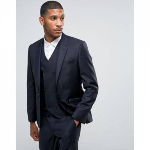 紺 ネイビー 100% メンズファッション スーツ セットアップ 【 NAVY ASOS SKINNY SUIT JACKET IN WOOL 】 ※セットアップではありません