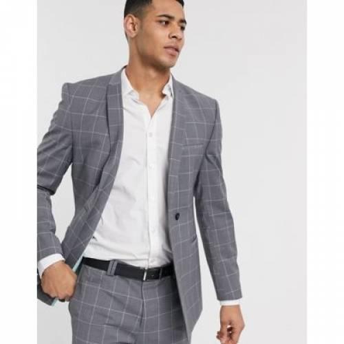 灰色 グレ メンズファッション コート ジャケット 【 VIGGO RECYCLED WOOL SUIT JACKET IN GREY WINDOWPANE CHECK 】 ※セットアップではありません
