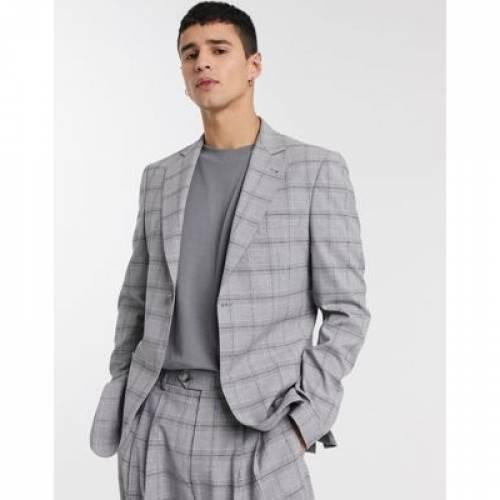 スリム 灰色 グレ メンズファッション コート ジャケット 【 SLIM ASOS DESIGN SUIT JACKET IN GREY SLUBBY CHECK 】 ※セットアップではありません