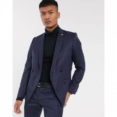紺 ネイビー メンズファッション コート ジャケット 【 NAVY TWISTED TAILOR SUIT JACKET IN PINSTRIPE 】 ※セットアップではありません