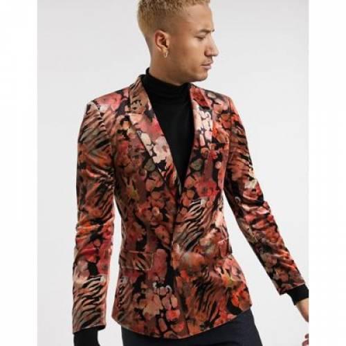 ブレーザー ブレイザー メンズファッション コート ジャケット 【 ASOS EDITION SKINNY VELVET LEOPARD BLAZER 】