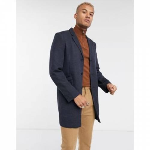 ジャージ 紺 ネイビー & メンズファッション コート ジャケット 【 NAVY ONLY SONS SMART JERSEY OVERCOAT IN 】