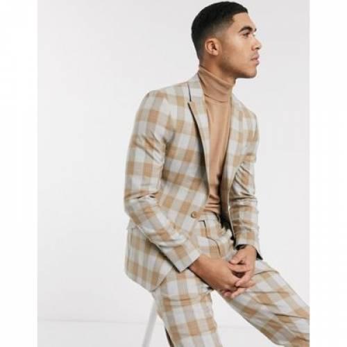 キャメル 灰色 グレ メンズファッション コート ジャケット 【 CAMEL ASOS DESIGN SKINNY SUIT JACKET IN WOOL BLEND CHECK AND GREY 】 ※セットアップではありません