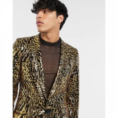 メンズファッション コート ジャケット 【 ASOS DESIGN SKINNY LONGER LENGTH SUIT JACKET IN TIGER SEQUIN 】 ※セットアップではありません