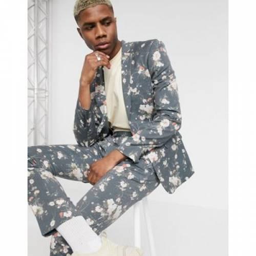 紺 ネイビー メンズファッション コート ジャケット 【 NAVY ASOS DESIGN SKINNY SUIT JACKET IN FLORAL PRINT 】 ※セットアップではありません