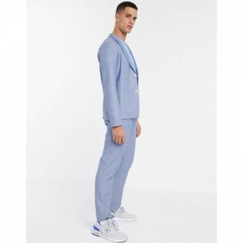 紺 ネイビー 白 ホワイト メンズファッション コート ジャケット 【 NAVY WHITE ASOS DESIGN SKINNY CASUAL LINEN MIX SUIT JACKET IN AND 】 ※セットアップではありません