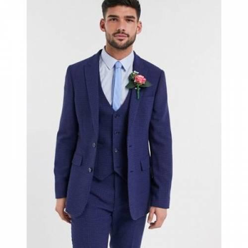 青 ブルー ミクロ メンズファッション コート ジャケット 【 BLUE MICRO ASOS DESIGN WEDDING SKINNY SUIT JACKET IN WOOL BLEND HOUNDSTOOTH 】 ※セットアップではありません