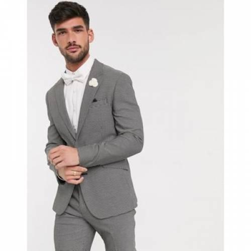 黒 ブラック 白 ホワイト ミクロ テクスチャー メンズファッション コート ジャケット 【 BLACK WHITE MICRO ASOS DESIGN WEDDING SKINNY SUIT JACKET IN AND TEXTURE 】 ※セットアップではありません