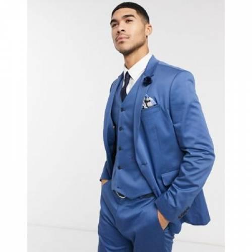 青 ブルー メンズファッション コート ジャケット 【 BLUE ASOS DESIGN WEDDING SKINNY SUIT JACKET IN STRETCH COTTON 】 ※セットアップではありません