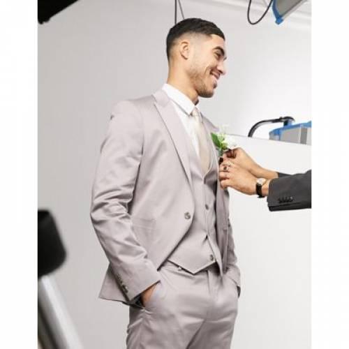 灰色 グレ メンズファッション コート ジャケット 【 ASOS DESIGN WEDDING SKINNY SUIT JACKET IN GREY STRETCH COTTON 】 ※セットアップではありません