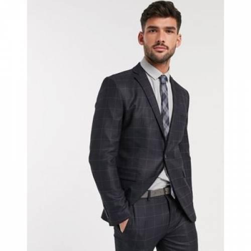 灰色 グレ メンズファッション コート ジャケット 【 SELECTED HOMME SKINNY FIT STRETCH SUIT JACKET IN GREY CHECK 】 ※セットアップではありません
