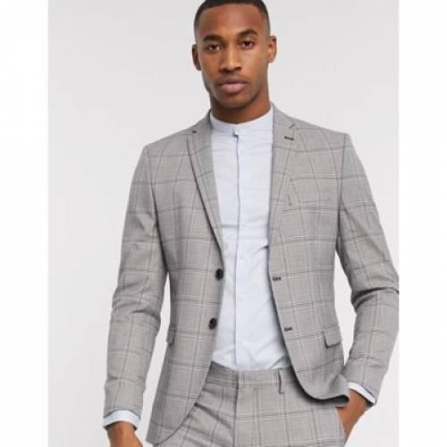 スリム 灰色 グレ メンズファッション コート ジャケット 【 SLIM SELECTED HOMME FIT STRETCH PRINCE OF WALES CHECK SUIT JACKET IN GREY 】 ※セットアップではありません