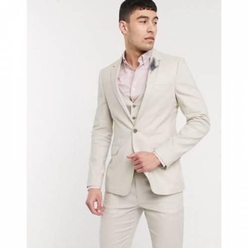 メンズファッション コート ジャケット 【 ASOS DESIGN WEDDING SKINNY SUIT JACKET IN STRETCH COTTON LINEN STONE 】 ※セットアップではありません