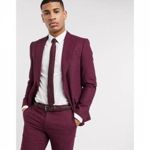 スリム 赤 レッド メンズファッション コート ジャケット 【 SLIM RED MOSS LONDON FIT HERRINGBONE SUIT JACKET IN MAROON 】 ※セットアップではありません