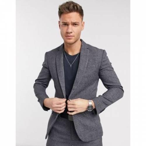 灰色 グレ メンズファッション コート ジャケット 【 NEW LOOK TEXTURED SUIT JACKET IN GREY 】 ※セットアップではありません
