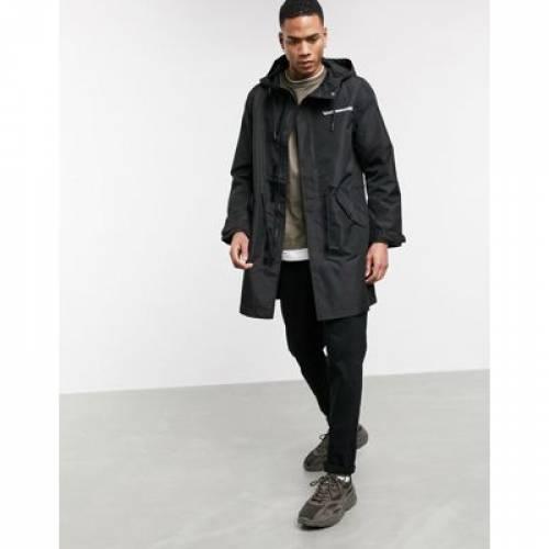 黒 ブラック メンズファッション コート ジャケット 【 BLACK BERSHKA LIGHTWEIGHT COAT WITH BACK PRINT IN 】