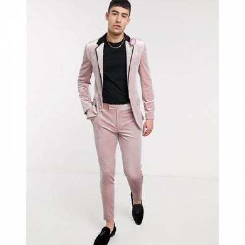 ピンク メンズファッション コート ジャケット 【 PINK ASOS DESIGN WEDDING SUPER SKINNY TUXEDO SUIT JACKET IN DUSKY VELVET 】 ※セットアップではありません