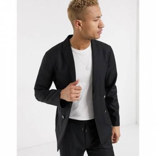 スリム 黒 ブラック 100% メンズファッション コート ジャケット 【 SLIM BLACK ASOS DESIGN DOUBLE BREASTED SOFT TAILORED SUIT JACKET IN WOOL 】 ※セットアップではありません