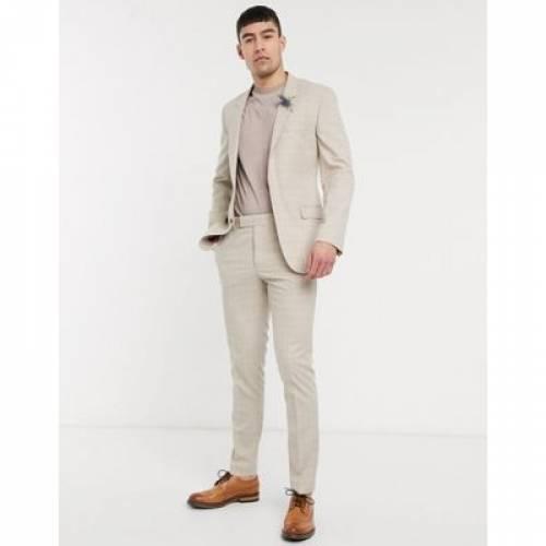 メンズファッション コート ジャケット 【 ASOS DESIGN WEDDING SKINNY SUIT JACKET IN STONE PRINCE OF WALES CHECK 】 ※セットアップではありません