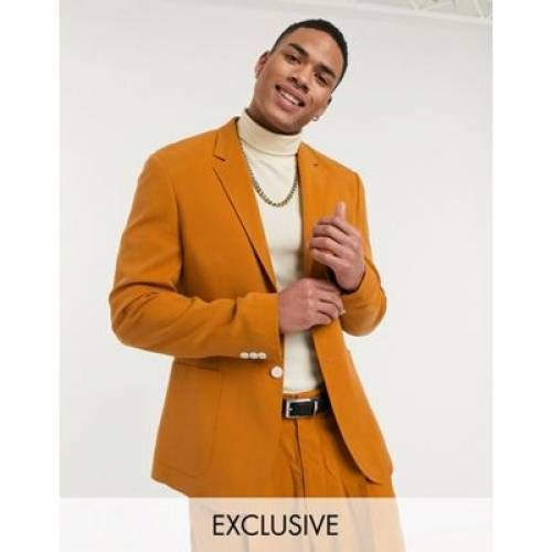 ビンテージ ヴィンテージ 橙 オレンジ メンズファッション コート ジャケット 【 VINTAGE ORANGE RECLAIMED SUIT JACKET IN BURNT 】 ※セットアップではありません