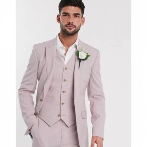 ローズ ピンク メンズファッション コート ジャケット 【 ROSE PINK ASOS DESIGN WEDDING SKINNY SUIT JACKET IN CROSSHATCH 】 ※セットアップではありません