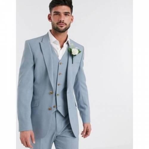 青 ブルー メンズファッション コート ジャケット 【 BLUE ASOS DESIGN WEDDING SKINNY SUIT JACKET IN CROSSHATCH SOFT 】 ※セットアップではありません