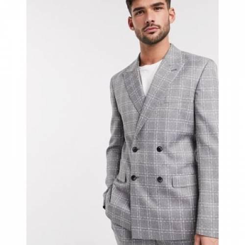 スリム 灰色 グレ メンズファッション コート ジャケット 【 SLIM ASOS DESIGN DOUBLE BREASTED SUIT JACKET IN GREY BROKEN CHECK 】 ※セットアップではありません