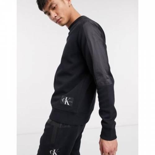 スウェット 黒 ブラック メンズファッション トップス トレーナー 【 SWEAT BLACK CALVIN KLEIN JEANS MIX MEDIA IN 】
